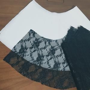 【フレア袖のこと】黒色✕白色✕レース地 Tシャツ作り 続編2