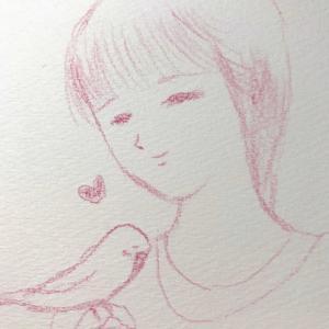 インコちゃんと女の子のイラスト。
