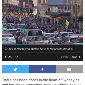シドニーとメルボルンにてコロナ規制のデモ