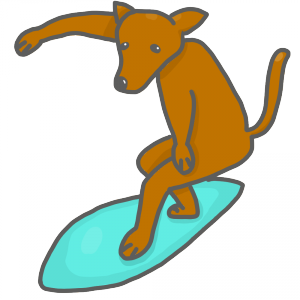 犬 サーフィン イラスト フリー素材