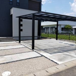 一宮市でのシンプルデザインの新築外構現場もうすぐ完成です。