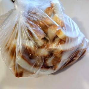 20円でパンの耳を買って、朝食とおやつを作りました。