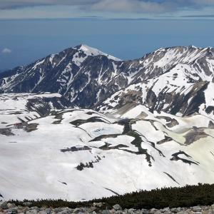 残雪期の立山と亀谷温泉白樺の湯