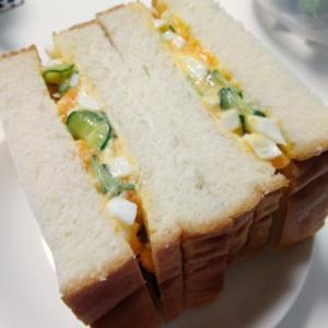 収穫したきゅうりでサンドイッチ