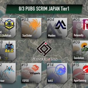 8/3(火) PUBG SCRIM JAPAN Tier1