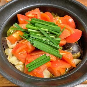 なすとトマトのキムチ鍋(エバラおいしいレシピ)をおつまみに家飲み