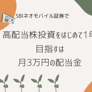 ネオモバで高配当株投資をはじめて1年。目指すは月3万円の配当金。