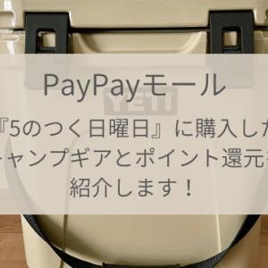 【初心者キャンプ】キャンプ用品初期投資!PayPayモール『5のつく日曜日』キャンペーンでどのくらいお得に買い物できた?