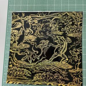スクラッチアート_鳥獣戯画の「相撲」を彫ってみたよ。
