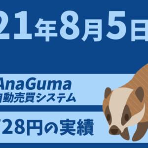 【運用実績】自動売買システム「AnaGuma(アナグマ)」2021年8月5日は+1,728円の実績!!