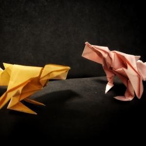 おりがみ:始祖鳥(シソチョウ) (Origami : Archaeopteryx)