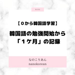 韓国語の勉強開始から「1ケ月」の記録【0から韓国語学習】