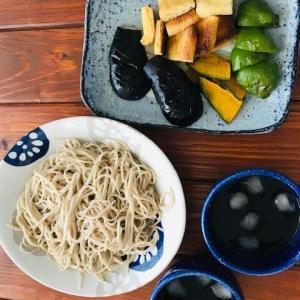 魚焼きグリルで作る揚げ焼き野菜と蕎麦のランチ&おつまみ枝豆アレンジ