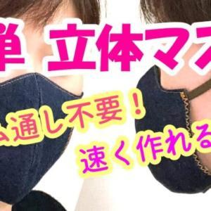 【簡単!立体マスク(大人用)の作り方】(ゴム通し不要)Homemade face mask | DIY sewing tutorial