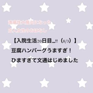 【入院生活20日目…!!(8/3)】豆腐ハンバーグうますぎ!ひますぎて文通はじめました