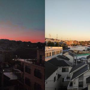 昨夜の夕焼けと今朝の風景