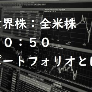 全世界株:米国株=50:50のポートフォリオとは?検証してみました!
