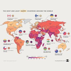 海外「日本人はどうして幸せじゃないんだ?」世界の幸福度マップが話題に(海外の反応)