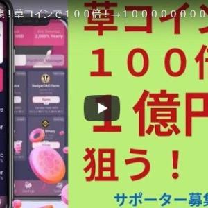 サポーター募集!草コインで100倍!→100000000円を狙う!!!!