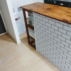 キッチンカウンター改良DIYの記録⑤失敗編、サブウェイタイルの壁紙を貼りなおす