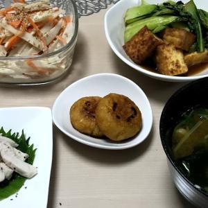 厚揚げとチンゲン菜(小松菜)の生姜炒め、ごぼうサラダ