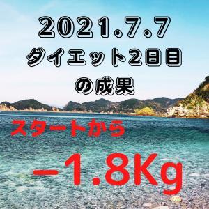 ダイエット2日目の成果(スタートからー1.8kg)