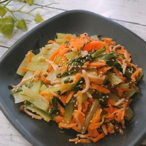 暑い日にレンジで簡単!小松菜と人参としめじの麺つゆナムル 冷凍しめじ