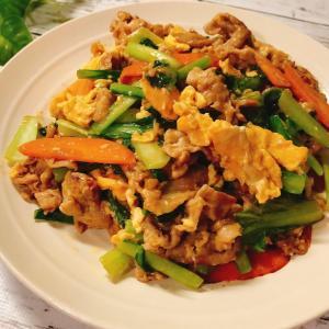 豚こま小松菜卵の中華炒め 小松菜の効能効果 #ご飯が進む