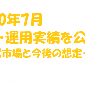 2020年7月 夫の収支・運用実績を公開(娘ジュニアNISA含む)