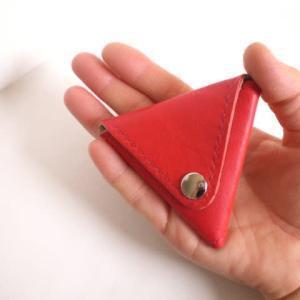 本革☆レザー 三角形 コインケース☆小銭入れ/赤色