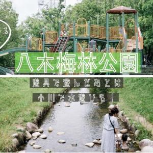 〈八木梅林公園〉遊具で遊べて、小川で水遊びもできる公園【広島市安佐南区八木】
