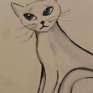 【お散歩の花】ピンと伸びているネコノヒゲ・くつろいでいる白いネコ