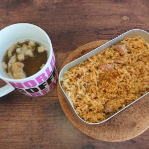 メスティンキャンプ飯 #8 チキン尽くし!! チキンラーメンの炊き込みご飯とチキンスープ