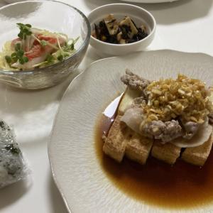 厚揚げの油淋鶏とミニ冷やし中華