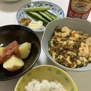 麻婆豆腐とじゃがバター塩辛のせ。