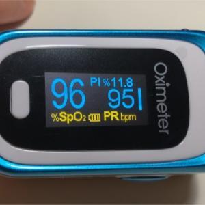 パルスオキシメーターを買って早速測定。心拍数が心配