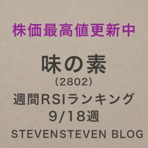 【株価最高値更新中!味の素】9/18 9週RSIランキング【2802】