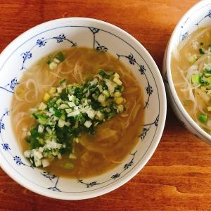自動メニューで汁ビーフンを作る!「ホットクックで作るアーモンドグリーンカレー風アジアンヌードル」