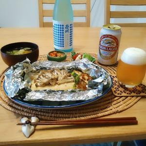 淡路玉葱の鶏ハンバーグホイル焼き☆栄川 純米吟醸生貯蔵酒