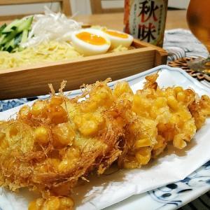 とうもろこしの天ぷらとざるラーメン