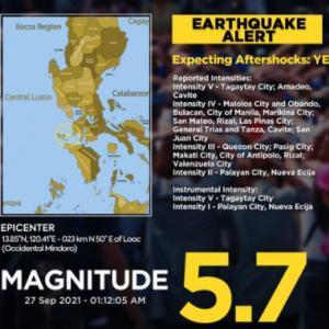 マニラも相当揺れた地震→真夜中の地震に飛び起きました