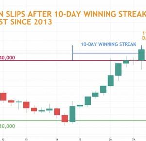 【朗報】ビットコイン、2013年以来の10日連続上昇 43%上昇でS&P500の17%を大きく上回る