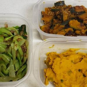 チンゲン菜とカボチャで作り置き:計3品