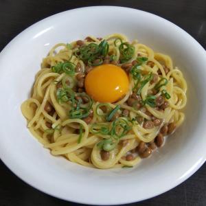 納豆と卵のスパゲッティ