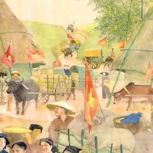 1960年のベトナムの農村を描いた絵 画家ター・トゥック・ビンの作品