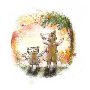 ねこまたぎ秋の庭