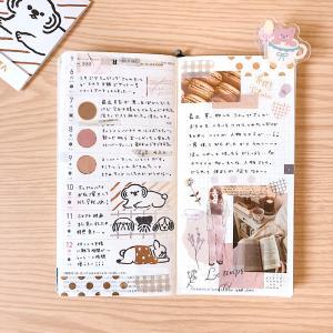 ブラウン×ゴールドの秋カラーほぼ日weeks手帳デコ♪