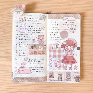 秋らしくピンクブラウン×チェックなほぼ日weeks手帳デコ♪