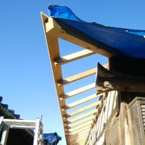 西側下屋根の下地貼り