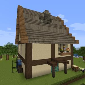 お花の自動回収装置の周りに家を建てます♪外観の完成